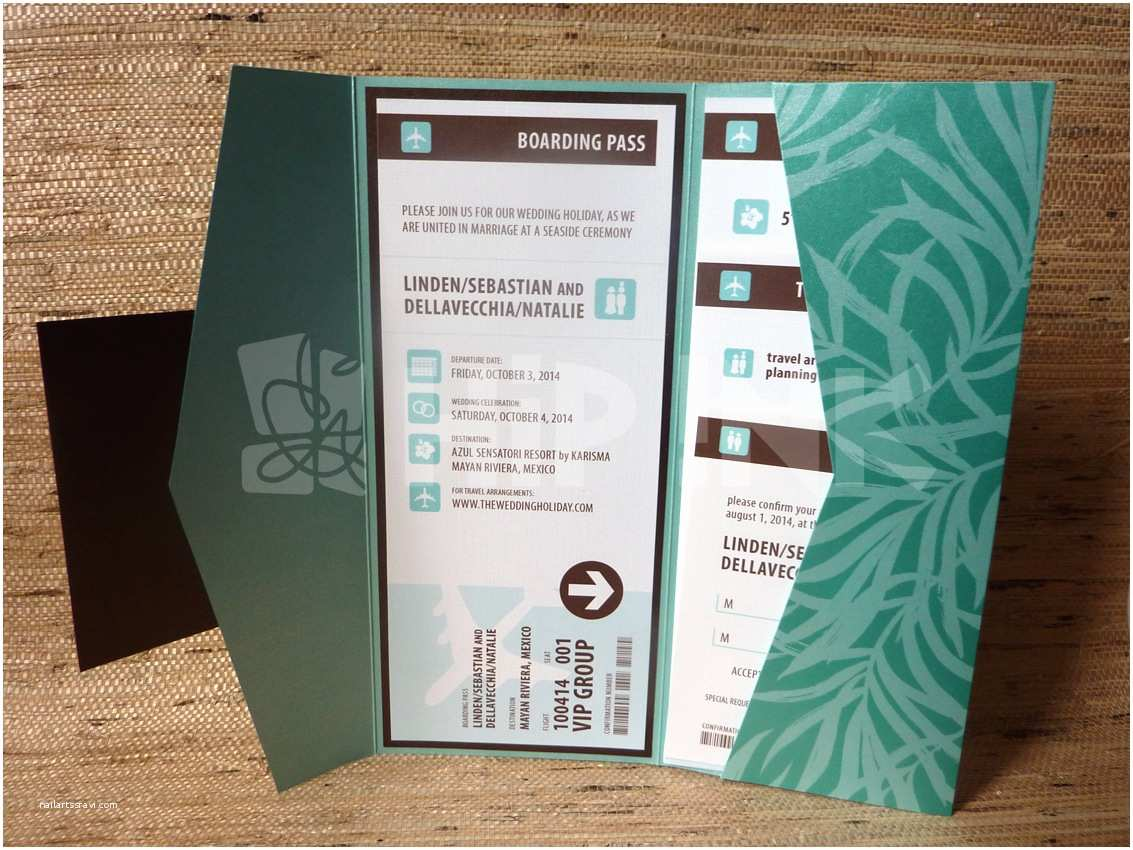 Diy Boarding Pass Wedding Invitations From the Studio Tropical Leaf Boarding Pass Pocketfold