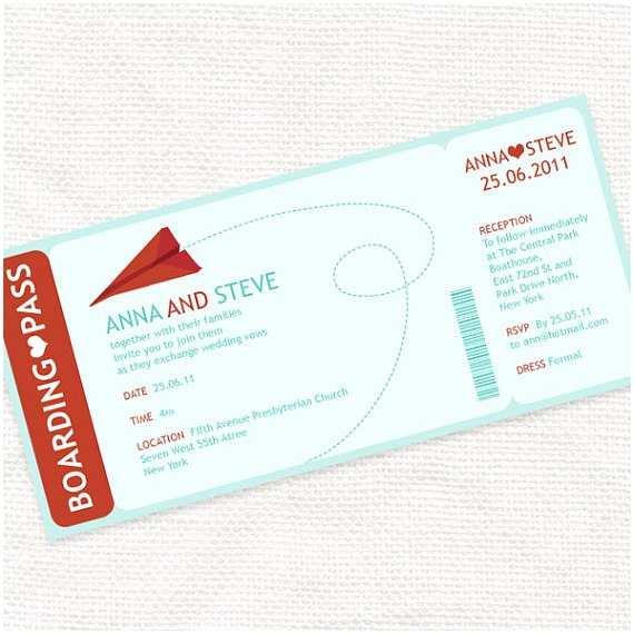 Diy Boarding Pass Wedding Invitations Items Similar to Paper Plane Boarding Pass Ticket Wedding