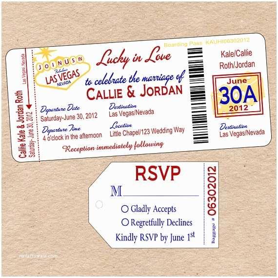 Diy Boarding Pass Wedding Invitations Items Similar to Vegas Boarding Pass Wedding Invitation
