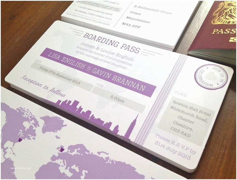 Diy Boarding Pass Wedding Invitations New York Boarding Pass Wedding Invitation Bundle by Rodo