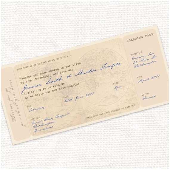 Diy Boarding Pass Wedding Invitations Printable Wedding Invitation Boarding Pass Ticket Antique