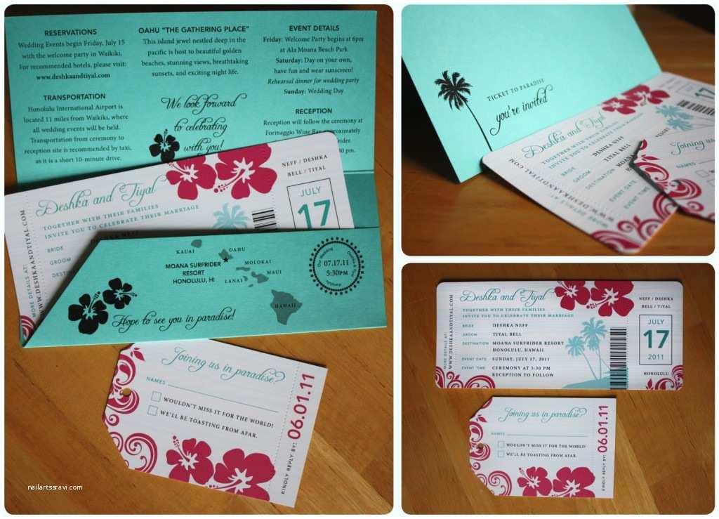 Diy Boarding  Wedding Invitations Turquoise & Pink Hibiscus Palm Tree & Swirl Boarding
