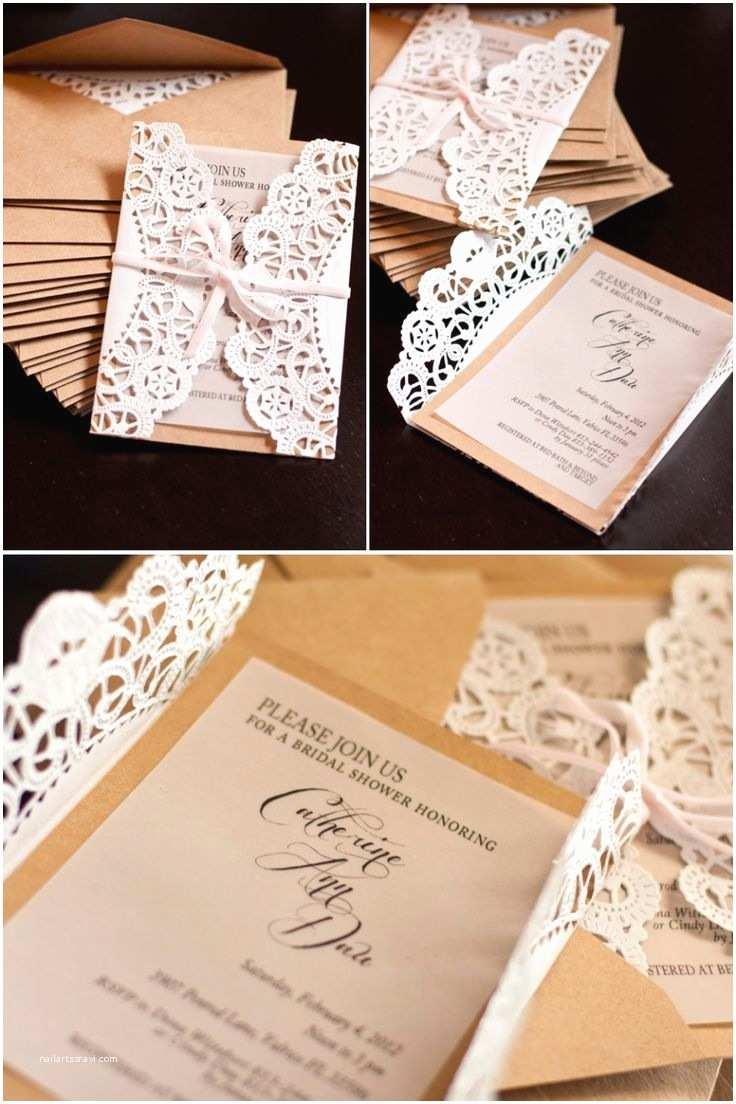 Diy Bridal Shower Invitations Diy Lace Invitations Wedding Diy Pinterest