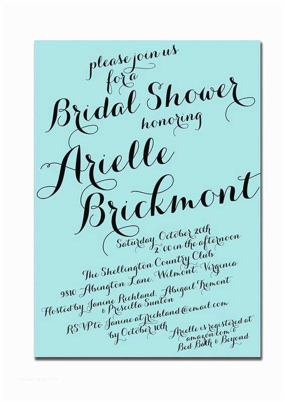 Diy Calligraphy Wedding Invitations Items Similar to Modern Script Bridal Shower Invitation