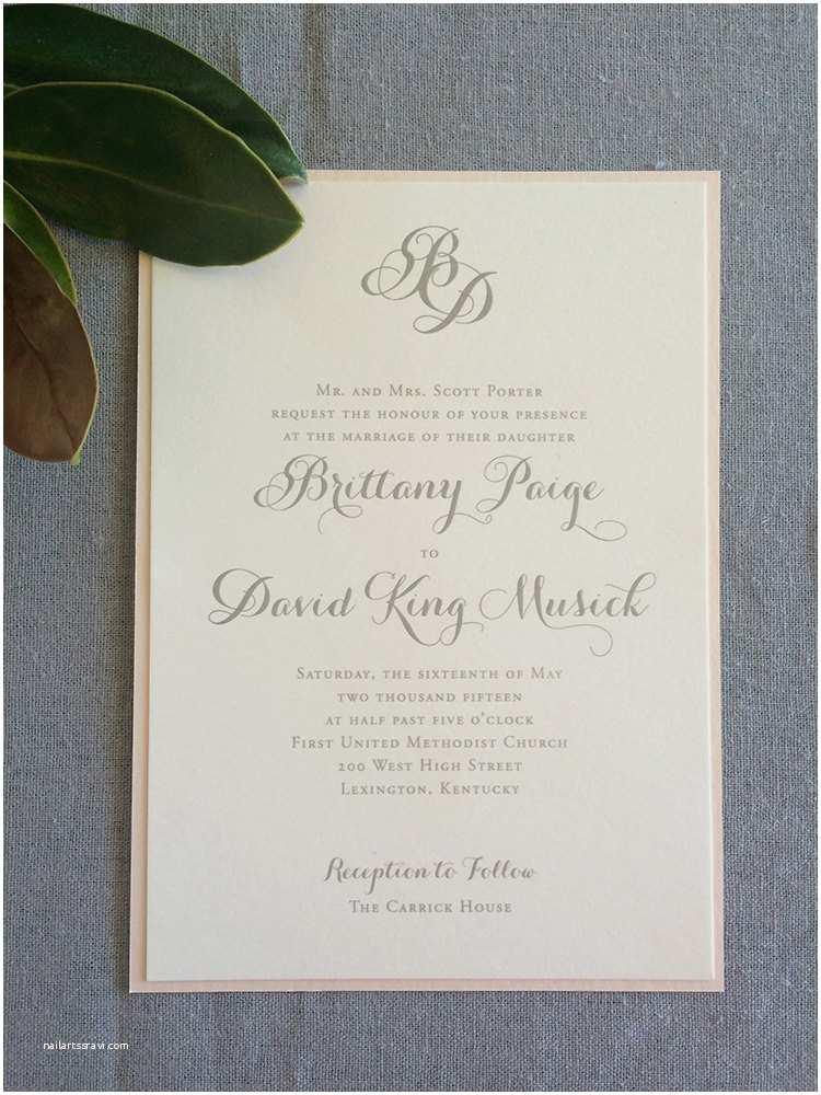 Diy Calligraphy Wedding Invitations Monogram and Modern Calligraphy Wedding Invitation In Blus