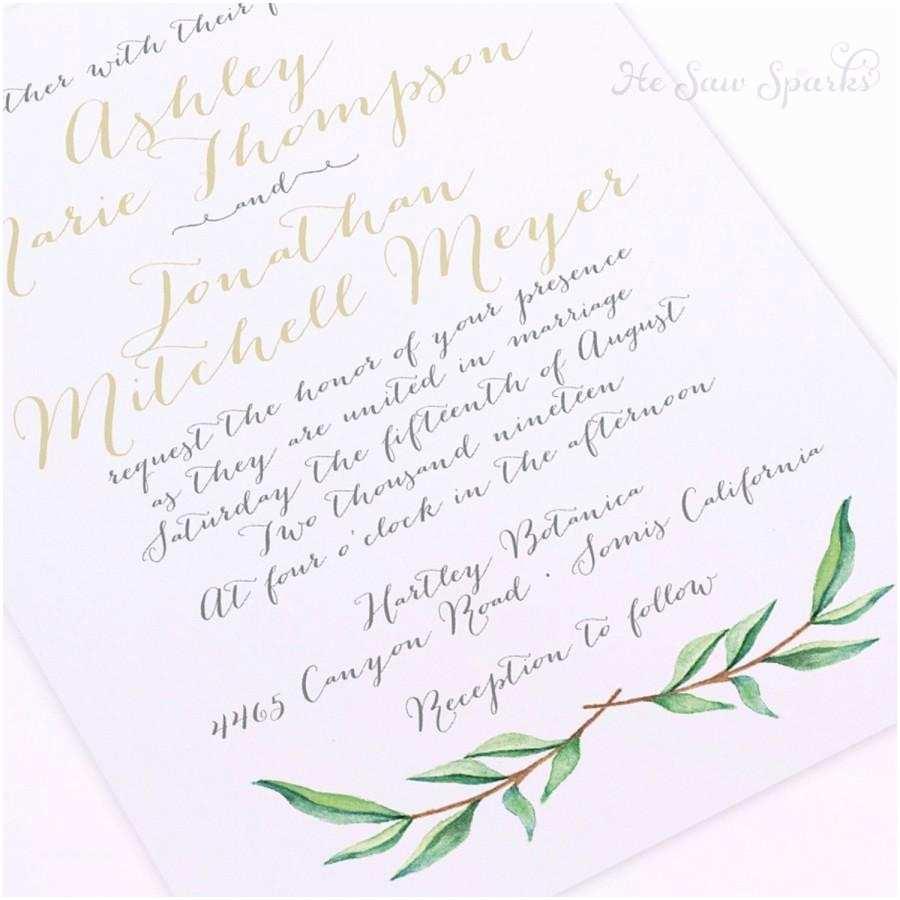 Diy Calligraphy Wedding Invitations Printable Wedding Invitation Watercolor Branch Diy
