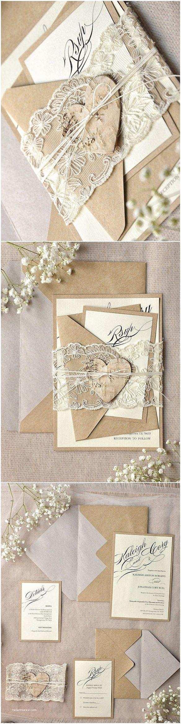 Diy Calligraphy Wedding Invitations Rustic Calligraphy Recycled Lace Wedding Invitation Kits