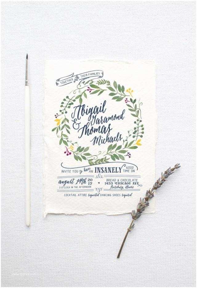 Diy Calligraphy Wedding Invitations Watercolor Wedding Invitation Suite Deposit Diy Rustic