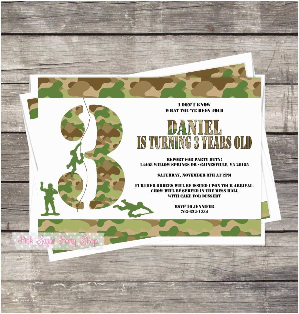 Diy Camo Wedding Invitations Army Camouflage Invitation Diy Customized by