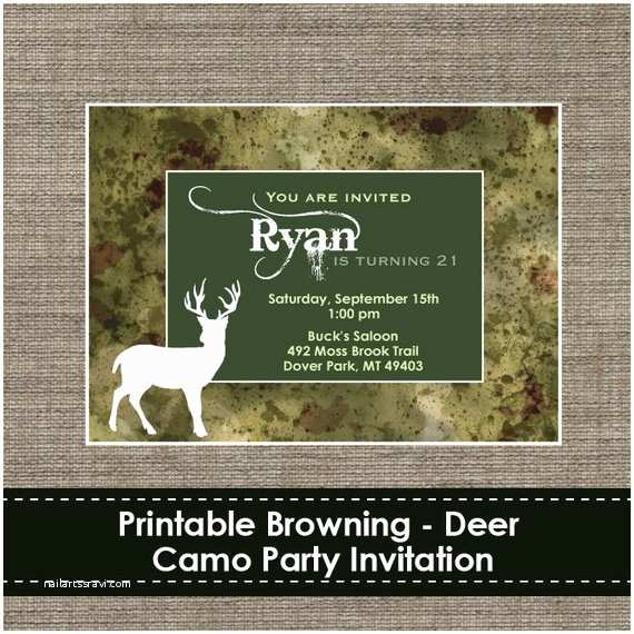 Diy Camo Wedding Invitations Browning Camo Deer Invitation Diy Printable by Sparklingstudio