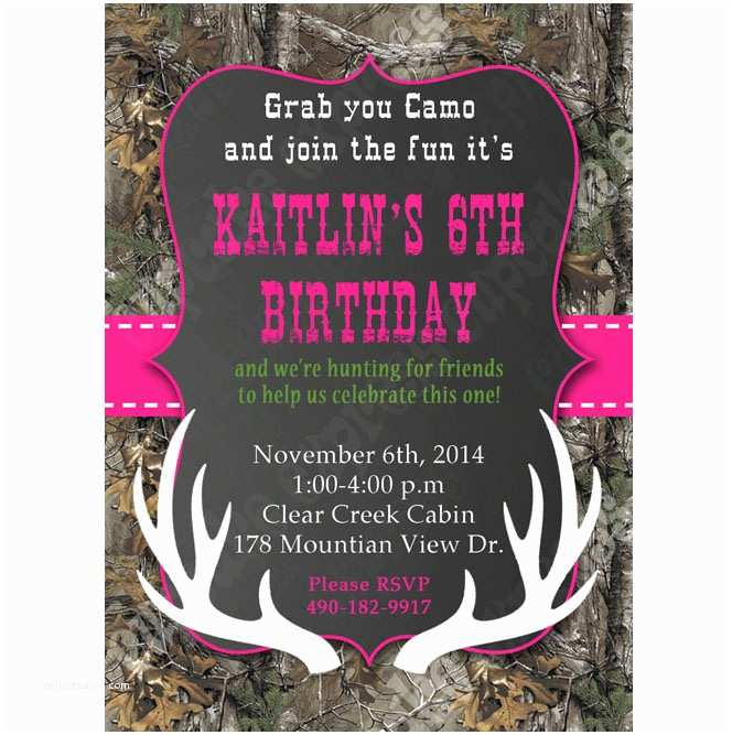 Diy Camo Wedding Invitations Camo Girl Printable Invitation Hunting Realtree Diy