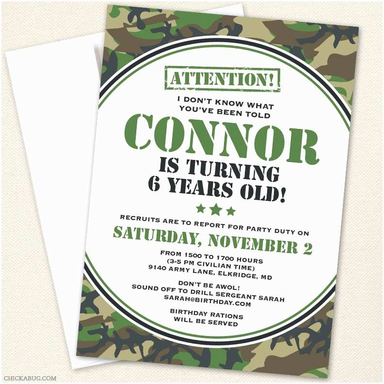 Diy Camo Wedding Invitations Camo or Army Party Invitations Professionally Printed or