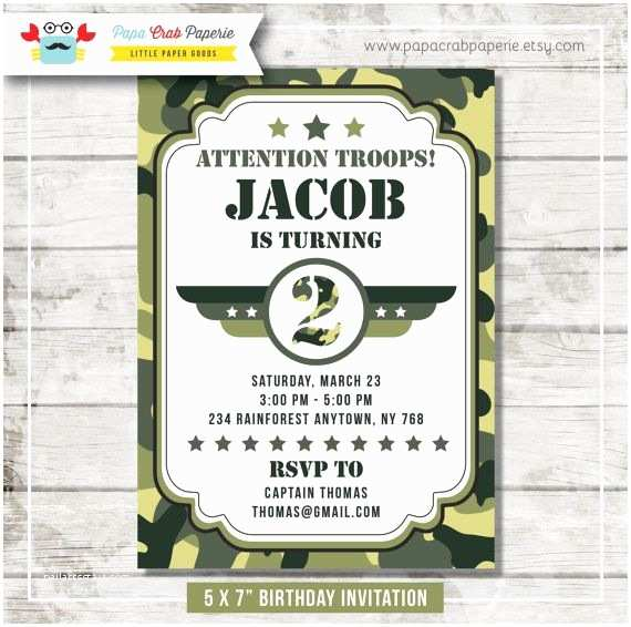 Diy Camo Wedding Invitations Camouflage Birthday Party Invitation Diy by