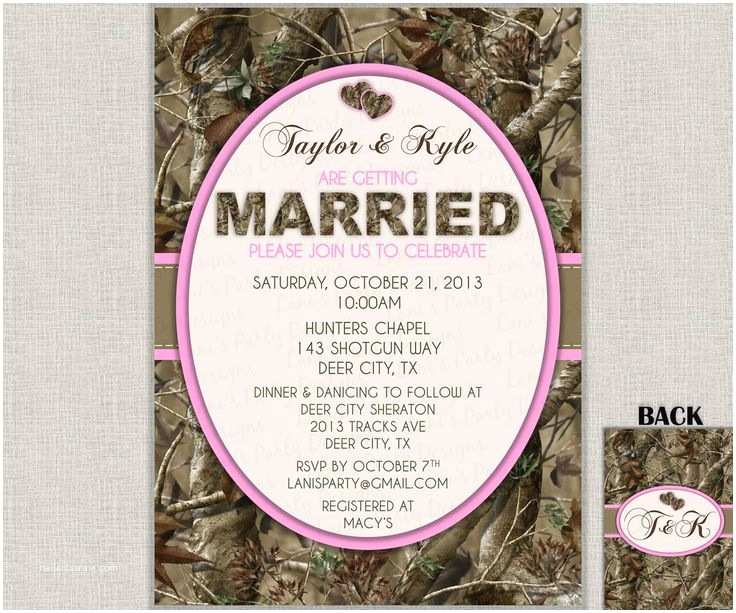 Diy Camo Wedding Invitations Hunting Camo Wedding Invitation Bridal Shower Bachelor