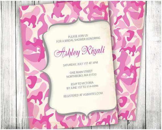 Diy Camo Wedding Invitations Pink Camouflage Invitation Camo Invite Custom by Vginvites