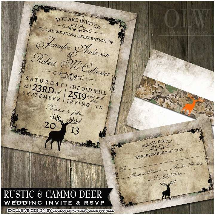 Diy Camo Wedding Invitations Rustic Distressed Camo Tree Wedding Invitation Suite
