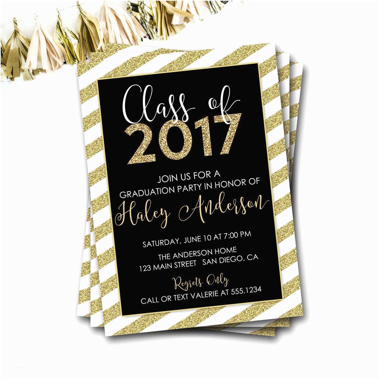 Diy Graduation Invitations Black and Gold Graduation Invitation Class Of 2017 Gold