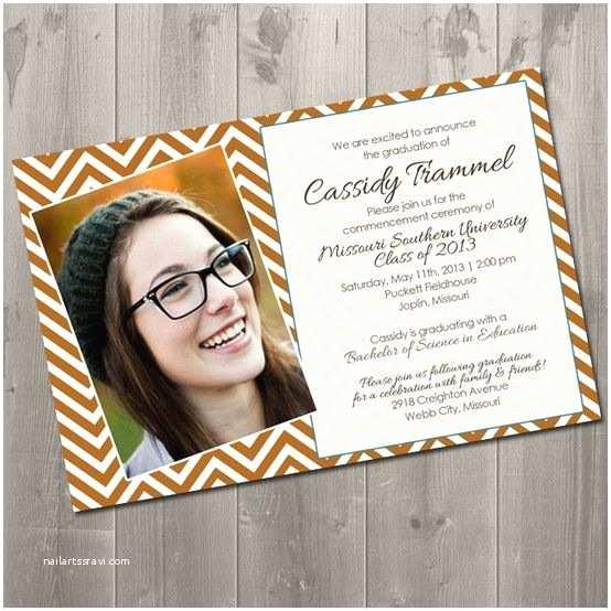 Diy Graduation Invitations Chevron Graduation Invitation Diy Printable Invitation