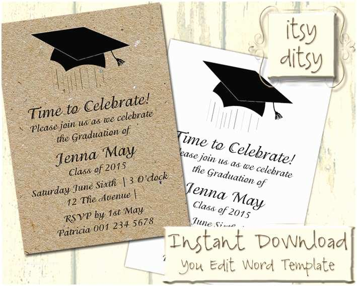 Diy Graduation Invitations Graduation Invitation Template with A Mortarboard Design