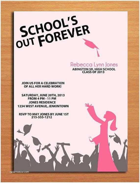 Diy Graduation Invitations School S Out Hat toss Graduation Party Invitation Cards