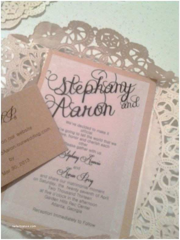 Diy Lace Wedding Invitations Diy Invitations Almost Done Wedding Brown Chic Diy
