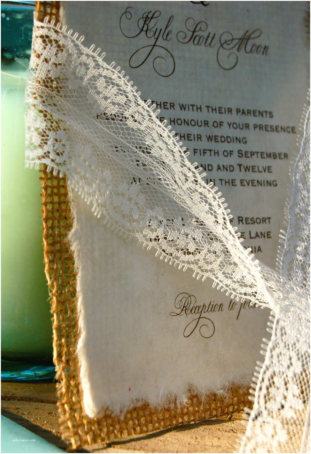 Diy Lace Wedding Invitations Diy Lace and Real Burlap Wedding Invitation Rustic Barn