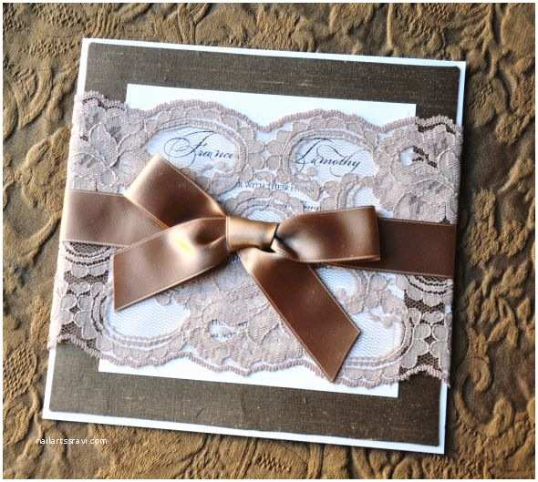 Diy Lace Wedding Invitations Diy Lace and Silk Designer Wedding Invitation
