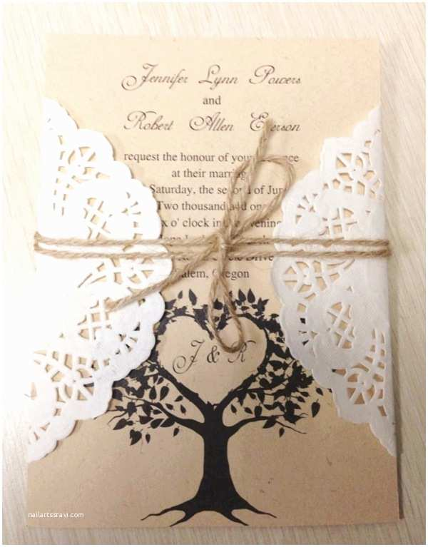 Diy Lace Wedding Invitations Diy Rustic Country themed Lace Wedding Invitations