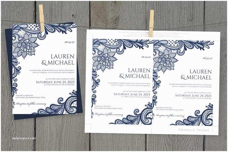 Diy Lace Wedding Invitations Diy Wedding Invitation Template Download Instantly