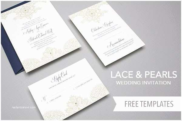 Diy Lace Wedding Invitations Free Invitation Template Set Lace & Pearls Invitation