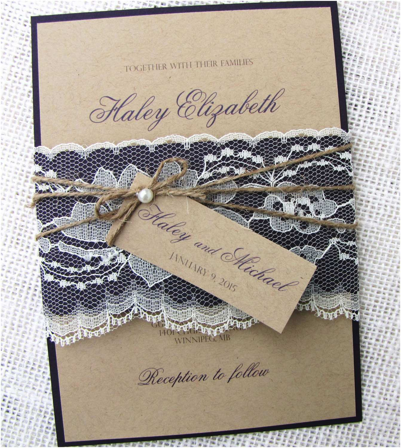 Diy Lace Wedding Invitations Rustic Lace Wedding Invitation Vintage Wedding Invitation