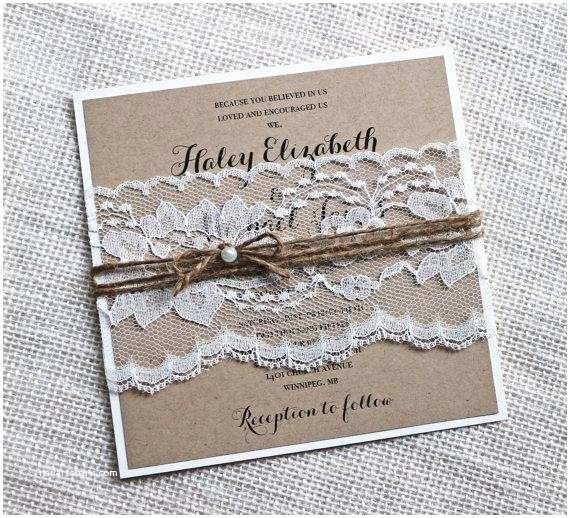 Diy Lace Wedding Invitations Rustic Wedding Invitations Lace Wedding Invitation Kraft