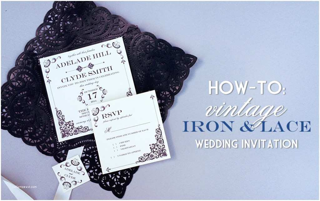 Diy Lace Wedding Invitations Vintage Iron & Lace Wedding Invitation with Diy Lace Pocket