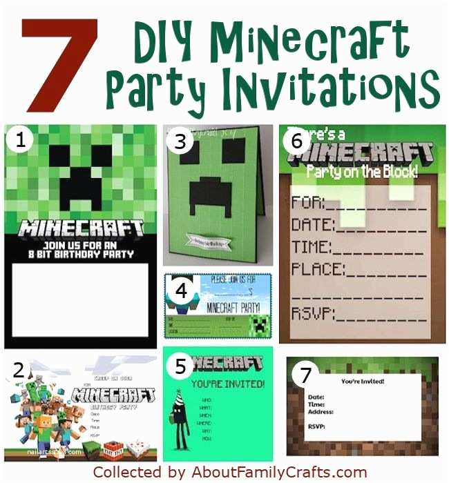 Diy Party Invitations 50 Diy Minecraft Birthday Party Ideas – About Family Crafts
