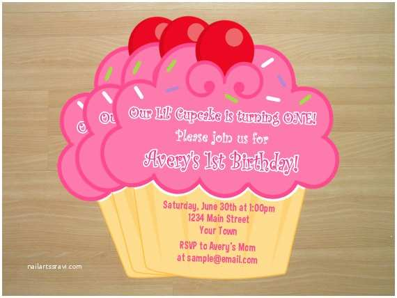 Diy Party Invitations Diy Cupcake Birthday Invitations Digital File by