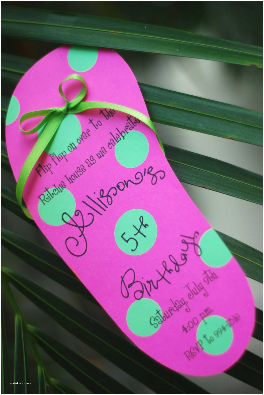 Diy Party Invitations Diy Pool Party Luau Flip Flop Birthday Invitation