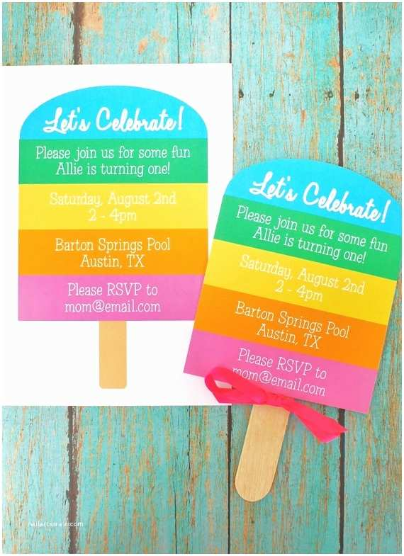 Diy Party Invitations Rainbow Popsicle Birthday Party Printable Invitation