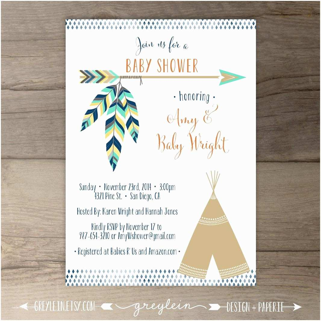 Diy Party Invitations Tribal Baby Shower Invitations • Birthday Pow Wow • Arrows