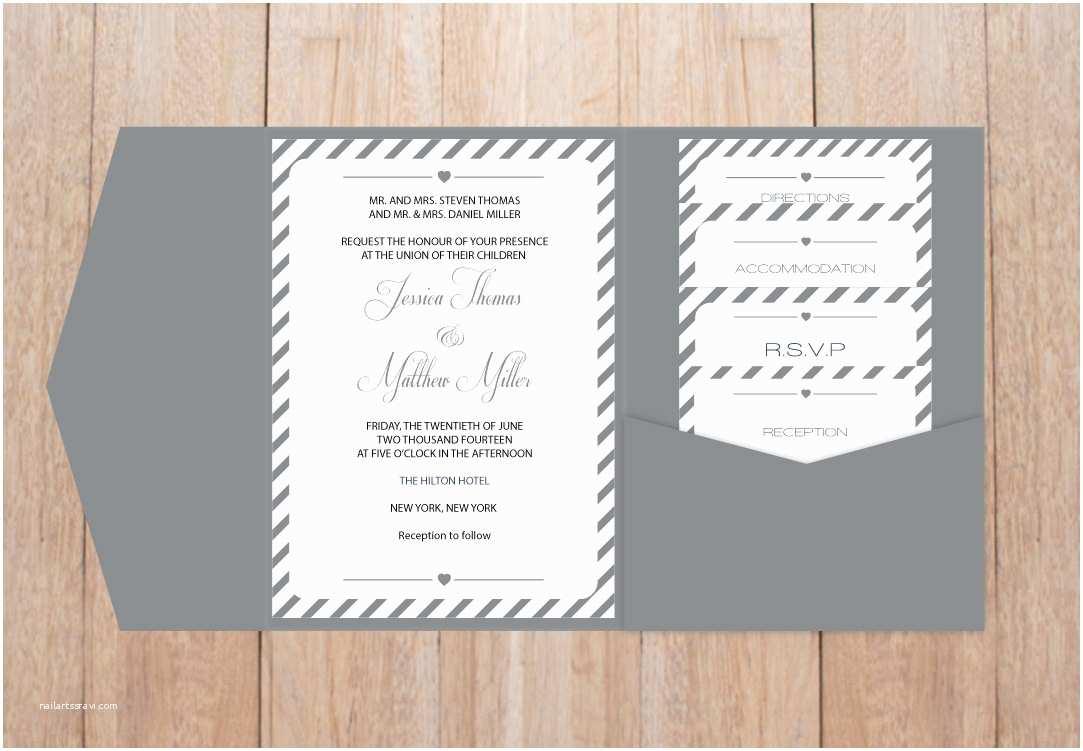 Diy Pocket Wedding Invitations Diy Pocket Wedding Invitation Template Set