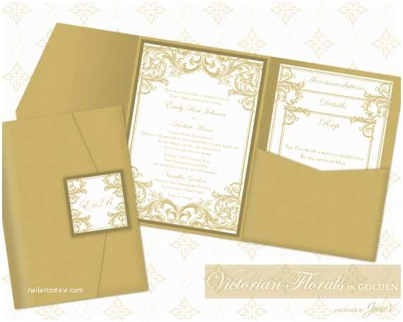 Diy Pocket Wedding Invitations Diy Printable Wedding Pocket Invitation Template Gold Pocket