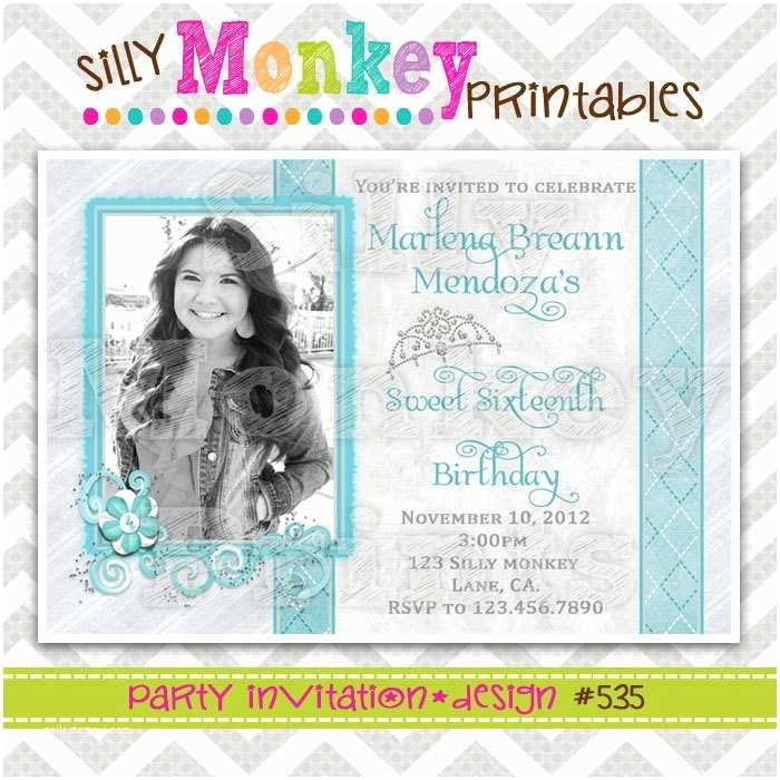 Diy Quinceanera Invitations Pin by Silly Monkey Printables On Invitations