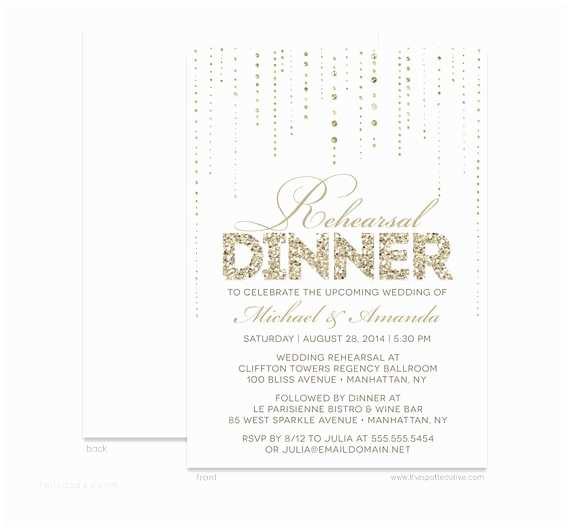 Diy Rehearsal Dinner Invitations Gold Glamour Rehearsal Dinner Invitations Personalized Diy