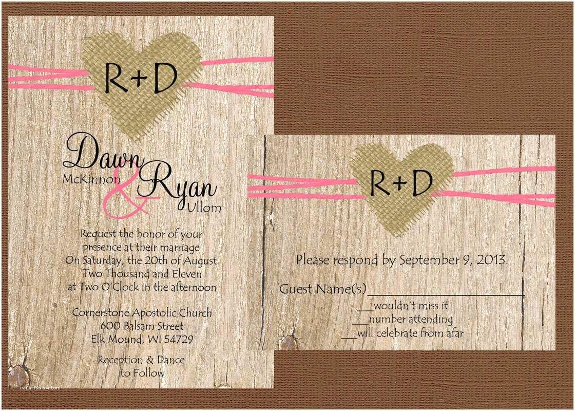Diy Rustic Wedding Invitations Diy Rustic Wedding Invitation Burlap Wedding Invitation