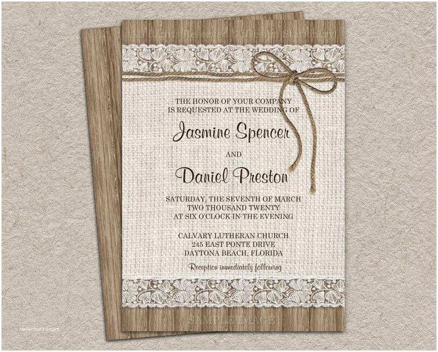 Diy Rustic Wedding Invitations Rustic Burlap Wedding Invitation Diy Printable Rustic