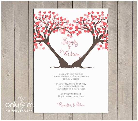 Diy Tree Wedding Invitations Modern Twin Heart Trees Wedding Invitation by Lybyinvite