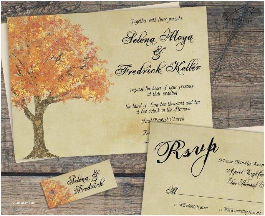 Diy Tree Wedding Invitations Rustic Fall Wedding Invitation Weddbook
