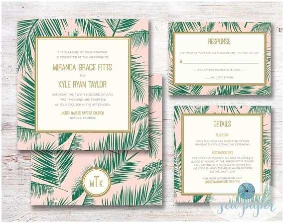 Diy Tree Wedding Invitations Wedding Invitation Palm Tree Leaf Printable Diy by