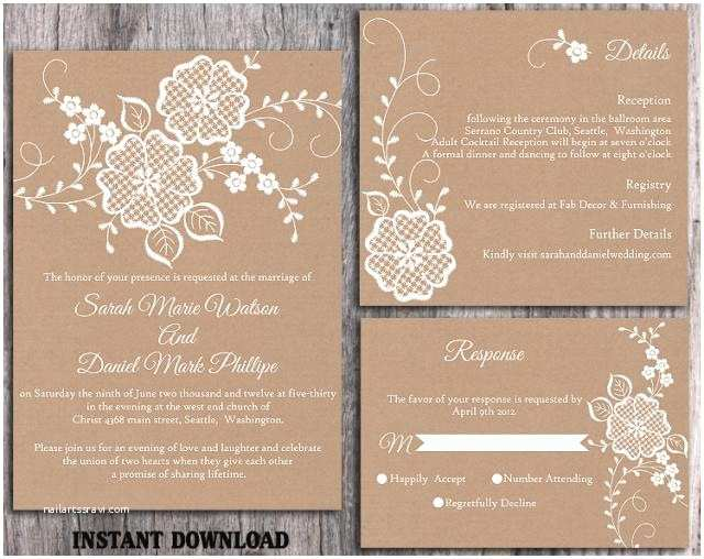 Diy Vintage Wedding Invitation Ideas Diy Lace Wedding Invitation Template Set Editable Word