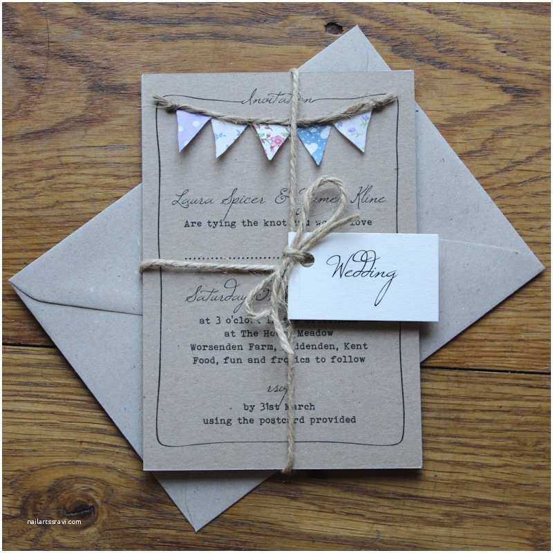 Diy Vintage Wedding Invitation Ideas Handmade Bunting Wedding Invitations Fully Personalised