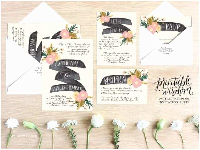 Diy Vintage Wedding Invitation Ideas Printable Wedding Invitation Suite Floral Wedding Invite